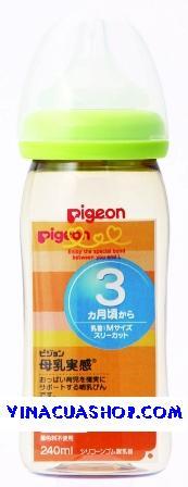 Bình sữa cổ rộng (nhựa, thủy tinh) Pigeon 240ml