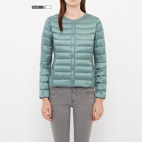 Áo phao lông vũ siêu nhẹ UNIQLO, dáng ngắn, cổ tròn cho nữ, mẫu 2013.